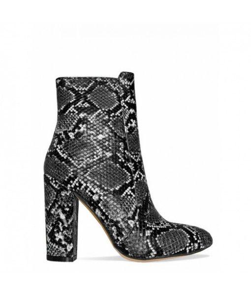 Fashion Chunky Heel Women Snakeskin Ankle Boots