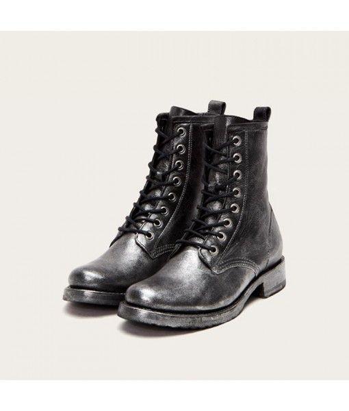 High end Italian stylish shoe women Waxed fabric lace up ladies martin boots