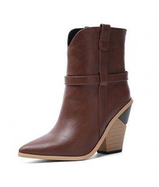 2020 Spring chic block heel pointed high heel women boots calf boots