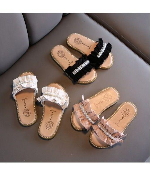 2020 summer new children's slippers Korean pearl girl cool drag soft bottom lace women's shoes antiskid wholesale